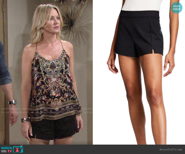 Ramy Brook Adele Shorts worn by Sharon Collins (Sharon Case) on The Young & the Restless