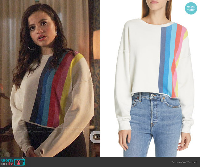 Re/Done Stripe Raw Sweatshirt worn by Maggie Vera (Sarah Jeffery) on Charmed
