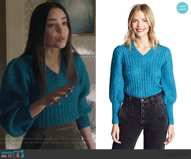 Lofty Sweater by Rebecca Taylor worn by Ava Jalali (Sofia Carson) on PLL The Perfectionists