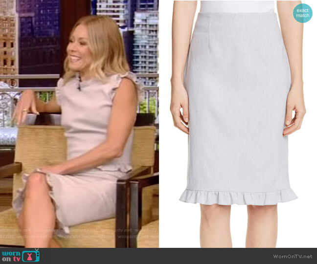 Ruffle Hem Linen Blend Pencil Skirt by Rebecca Taylor worn by Kelly Ripa  on Live with Kelly & Ryan