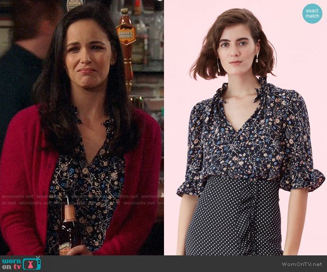 Rebecca Taylor Vivianna Vine Jacquard Silk Top worn by Amy Santiago (Melissa Fumero) on Brooklyn Nine-Nine