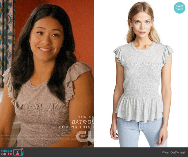 Rebecca Taylor Smocked Jersey Top worn by Jane Villanueva (Gina Rodriguez) on Jane the Virgin