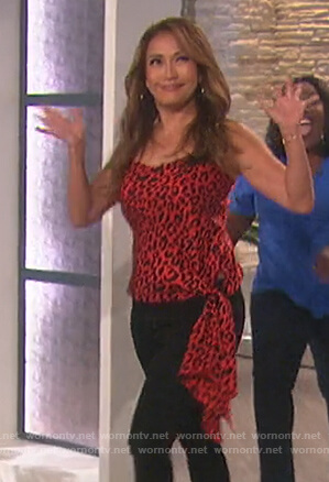 Carrie's red leopard tie waist top on The Talk
