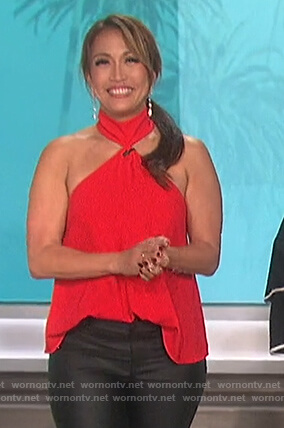 Carrie's red mock neck top on The Talk