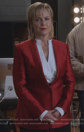 Jacqueline's red satin blazer on The Bold Type