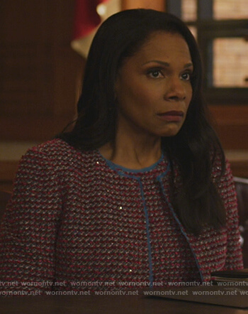 Liz's red tweed jacket on The Good Fight