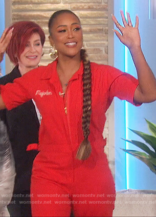 Eve's red utility jumpsuit on The Talk