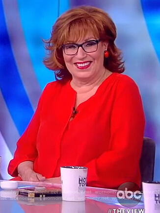Joy's red v-neck blouse on The View