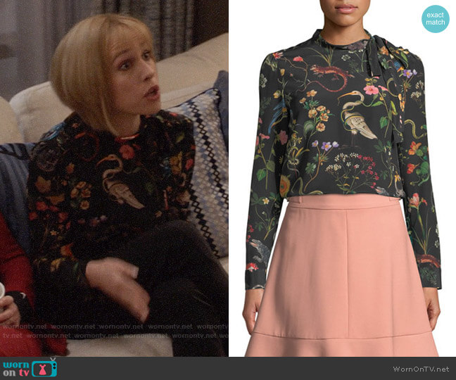 RED Valentino Flora & Fauna Blouse worn by Catherine Meyer (Sarah Sutherland) on Veep