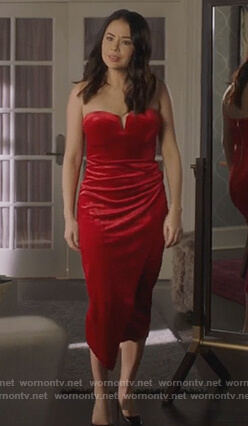 Mona's red strapless velvet dress on Pretty Little Liars The Perfectionists