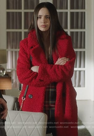 Ava's red wool coat on Pretty Little Liars The Perfectionists