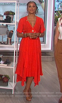 Eve's red midi dress on The Talk