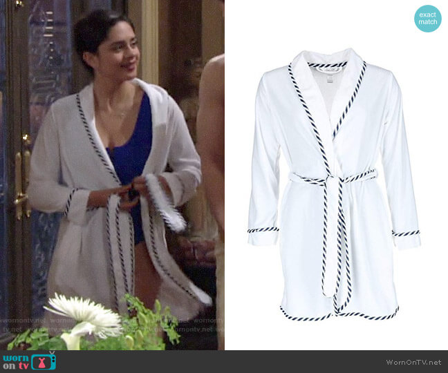 Rene Rofe Vintage Terry Short Robe worn by Lola Rosales (Sasha Calle) on The Young & the Restless