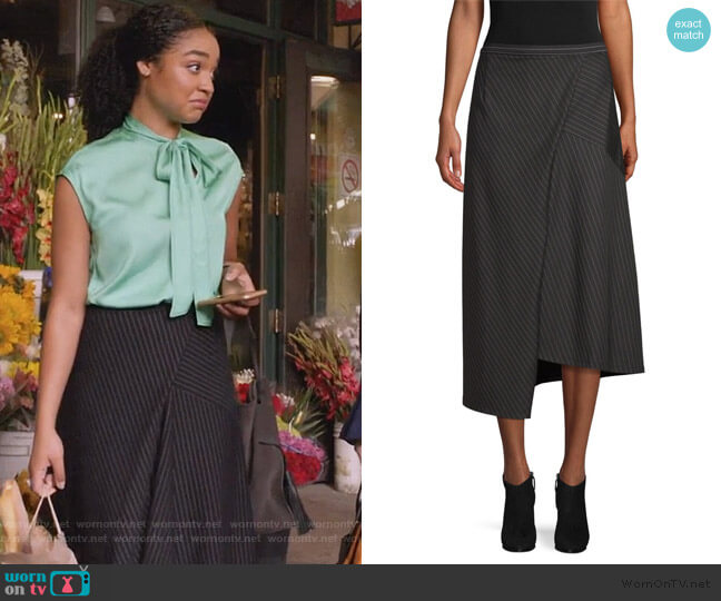 Asymmetric Pinstripe Skirt by Robert Rodriguez worn by Kat Edison (Aisha Dee) on The Bold Type