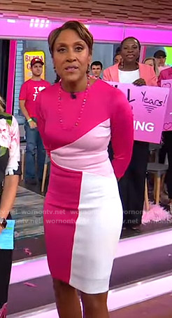 Robin's pink colorblock dress on Good Morning America