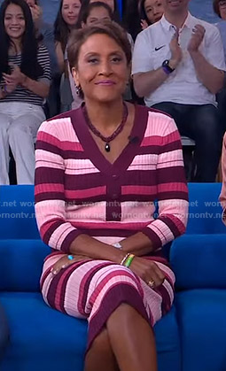Robin's pink striped v-neck dress on Good Morning America