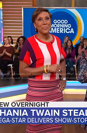 Robin's striped top and skirt on Good Morning America