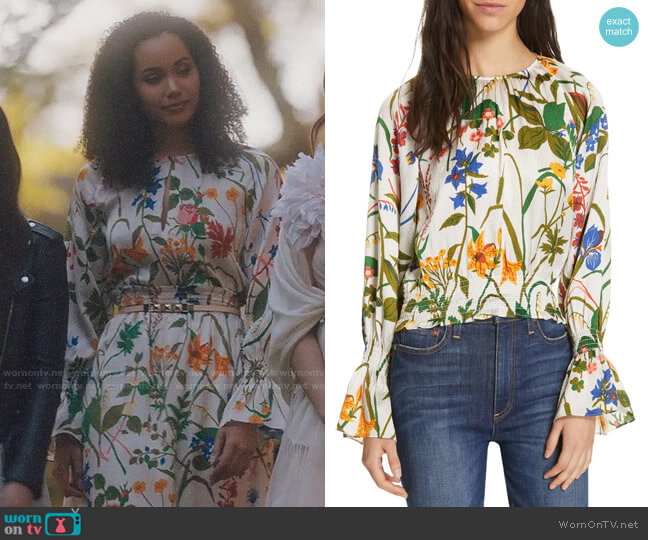 Rodebjer Adania Floral Print Silk Blouse worn by Macy Vaughn (Madeleine Mantock) on Charmed