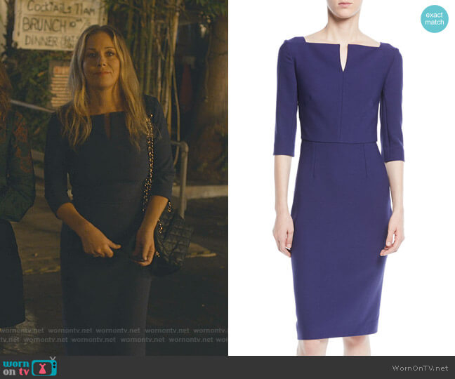 Elbow-Sleeve Split-Neck Crepe Sheath Dress by Roland Mouret worn by Jen Harding (Christina Applegate) on Dead to Me
