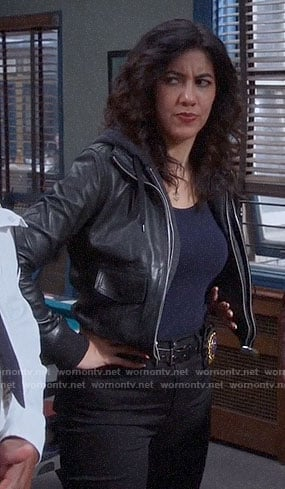 Rosa's leather bomber jacket with hoodie layer on Brooklyn Nine-Nine