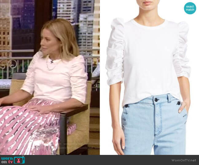 Ruched-Sleeve Tee by See by Chloe worn by Kelly Ripa  on Live with Kelly & Ryan