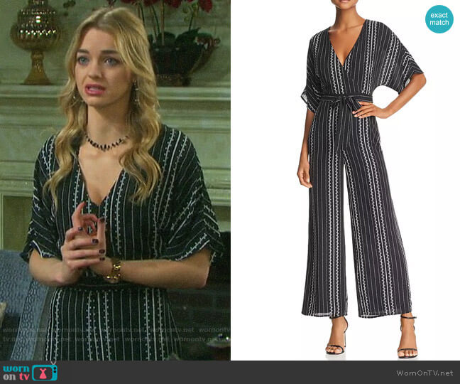 Sadie & Sage Geo-Print Wide-Leg Jumpsuit worn by Claire Brady (Olivia Keegan) on Days of our Lives