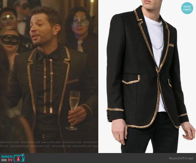 Gold Braided Blazer by Saint Laurent  worn by Sam Flores (Rafael de la Fuente) on Dynasty