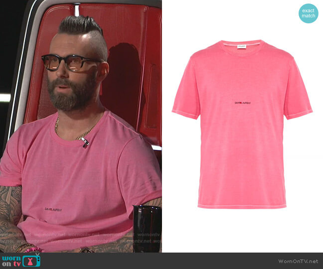 Logo-Print Cotton-Jersey T-shirt by Saint Laurent worn by Adam Levine  on The Voice