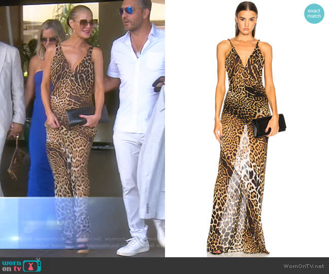 Georgette Leopard Print Gown by Saint Laurent worn by Dorit Kemsley  on The Real Housewives of Beverly Hills