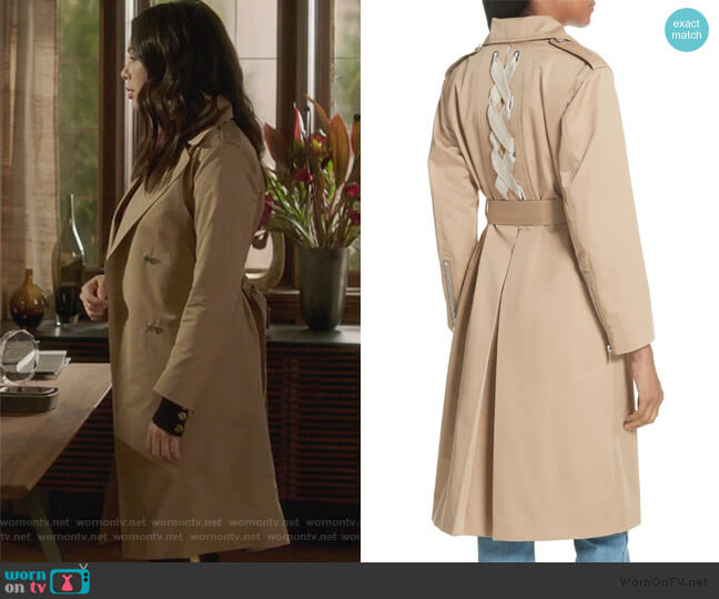 Emastic Laced Back Trench Coat by Sandro worn by Mona Vanderwaal (Janel Parrish) on PLL The Perfectionists