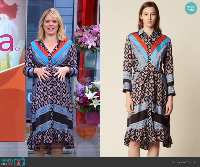 Flowing Printed Shirt Dress by Sandro worn by Sara Haines  on Good Morning America