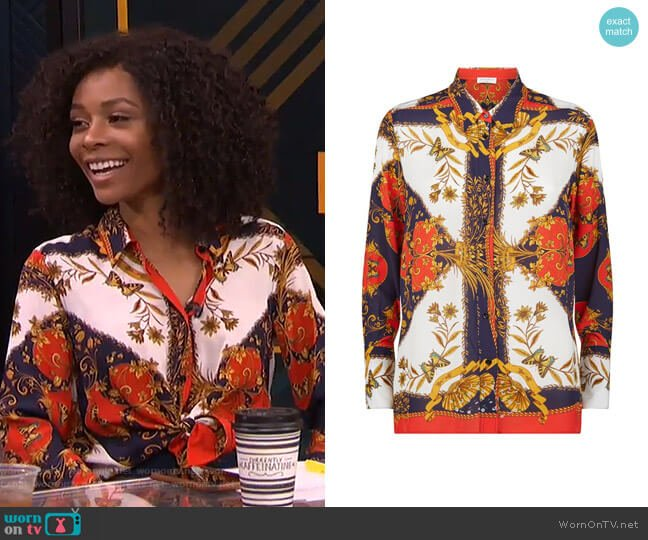 Scarf Print Shirt by Sandro worn by Zuri Hall  on E! News