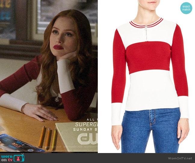 Sandro Colorblock Half Zip Sweater worn by Cheryl Blossom (Madelaine Petsch) on Riverdale