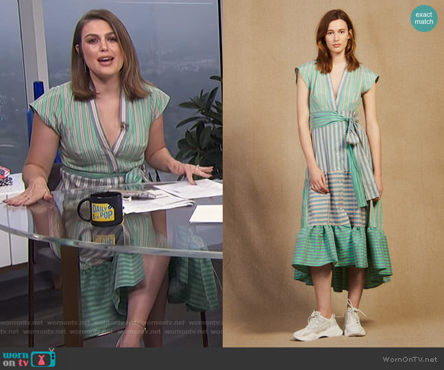 Striped Wrap Midi Dress by Sandro worn by Carissa Loethen Culiner  on E! News