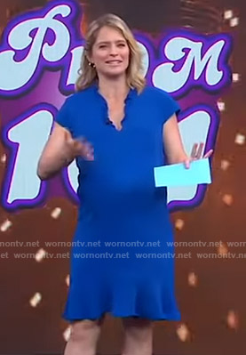 Sara's blue ruffled v-neck dress on GMA Strahan And Sara
