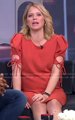 Sara's orange ruched sleeve dress with ties on GMA Strahan And Sara