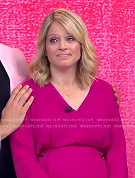 Sara's pink belted v-neck dress on GMA Strahan And Sara