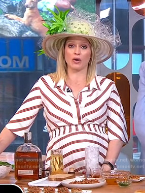Sara's white striped dress on GMA Strahan And Sara