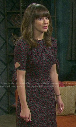 Sarah's floral tie sleeve dress on Days of our Lives
