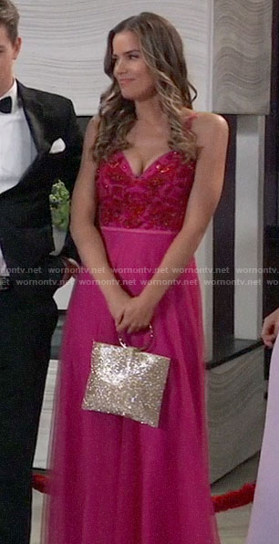 Sasha's pink Nurse's Ball dress on General Hospital