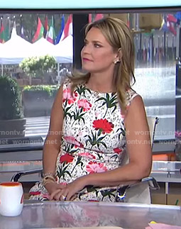 Savannah's white carnation sleeveless dress on Today