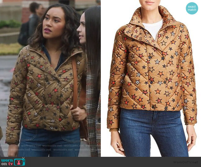 Star Print Cropped Puffer Jacket by Scotch & Soda worn by Caitlin Martell-Lewis (Sydney Park) on PLL The Perfectionists