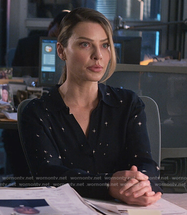 Chloe's navy star print blouse on Lucifer