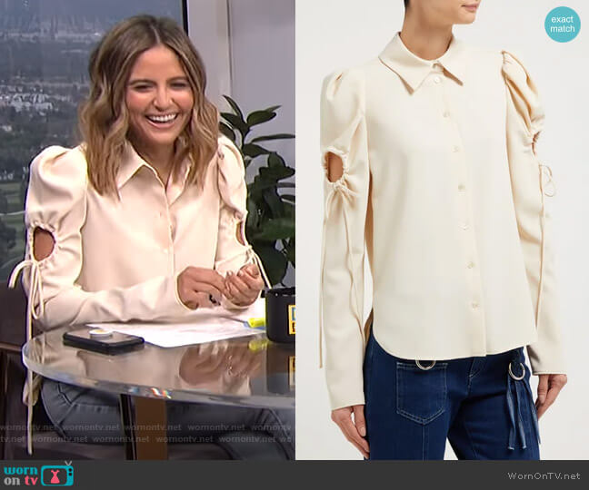 Puff Sleeved Cut-Out Blouse by See by Chloe worn by Erin Lim  on E! News