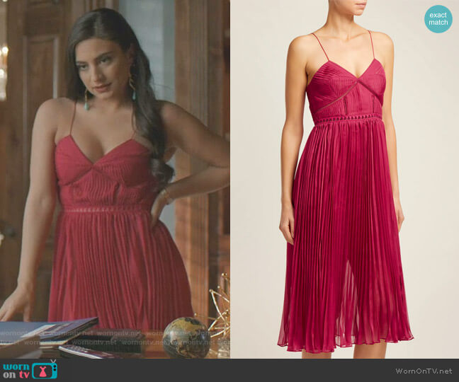 Pleated Crepe Midi Dress by Self Portrait worn by Cristal Jennings (Daniella Alonso) on Dynasty