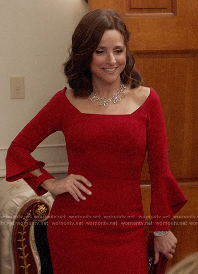 Selina's red gown on Veep