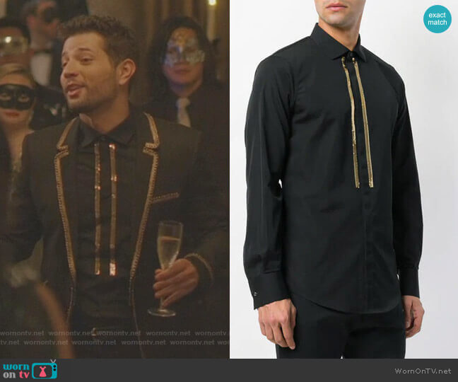 Sequin Embellished Shirt by Dsquared2 worn by Sam Flores (Rafael de la Fuente) on Dynasty