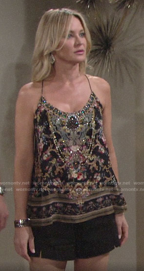 Sharon's embellished cami and black shorts in Vegas on The Young and the Restless