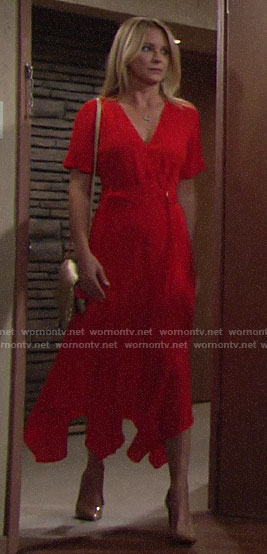 Sharon's red belted midi dress on The Young and the Restless
