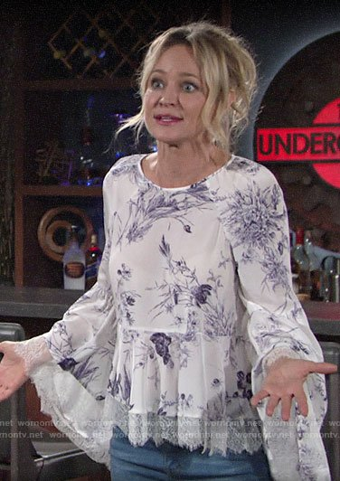 Sharon's white floral lace-trim bell-sleeve top on The Young and the Restless